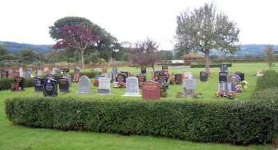 cemetery with a hedge and coloured gravestones